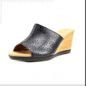 Clarks Collection Open Toe Slip On Wedge